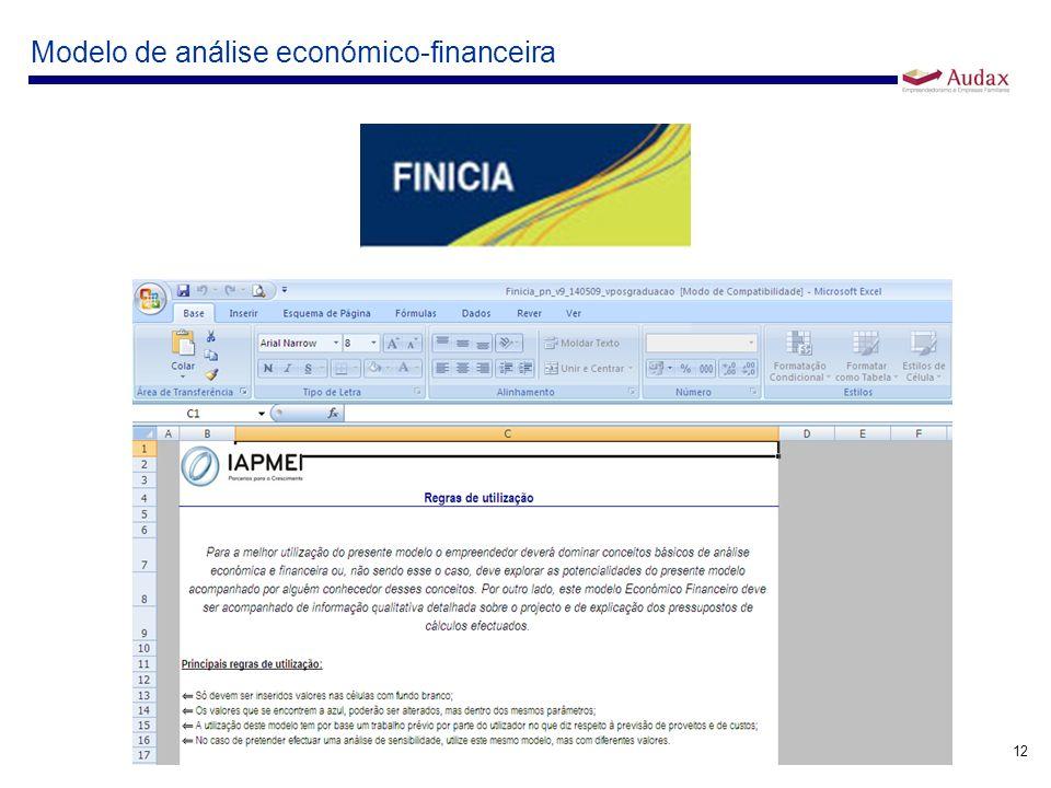 12 Modelo de análise económico-financeira