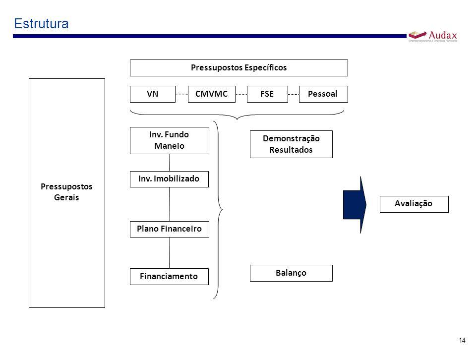 14 Estrutura Pressupostos Gerais Pressupostos Específicos VN CMVMC FSEPessoal Demonstração Resultados Balanço Avaliação Inv. Fundo Maneio Inv. Imobili