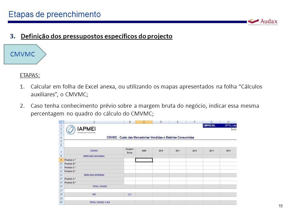 19 Etapas de preenchimento 3.Definição dos pressupostos específicos do projecto CMVMC ETAPAS: 1.Calcular em folha de Excel anexa, ou utilizando os map