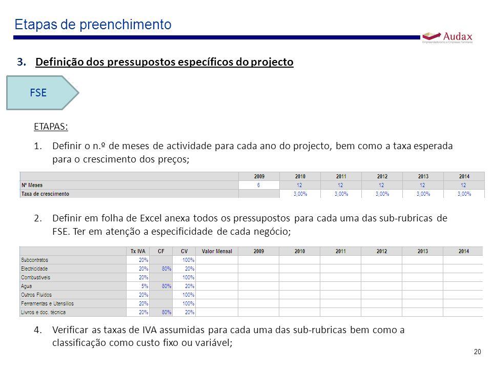 20 Etapas de preenchimento 3.Definição dos pressupostos específicos do projecto FSE ETAPAS: 1.Definir o n.º de meses de actividade para cada ano do pr