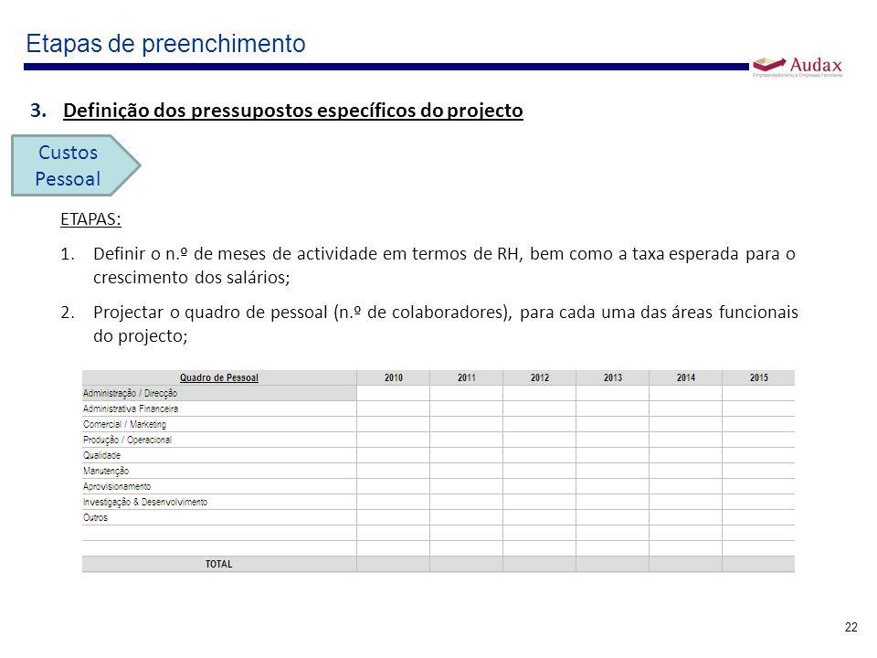 22 Etapas de preenchimento 3.Definição dos pressupostos específicos do projecto Custos Pessoal ETAPAS: 1.Definir o n.º de meses de actividade em termo