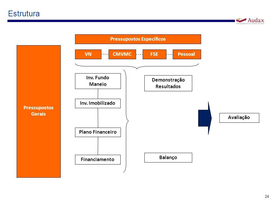 24 Estrutura Pressupostos Gerais Pressupostos Específicos VN CMVMC FSEPessoal Demonstração Resultados Balanço Avaliação Inv. Fundo Maneio Inv. Imobili