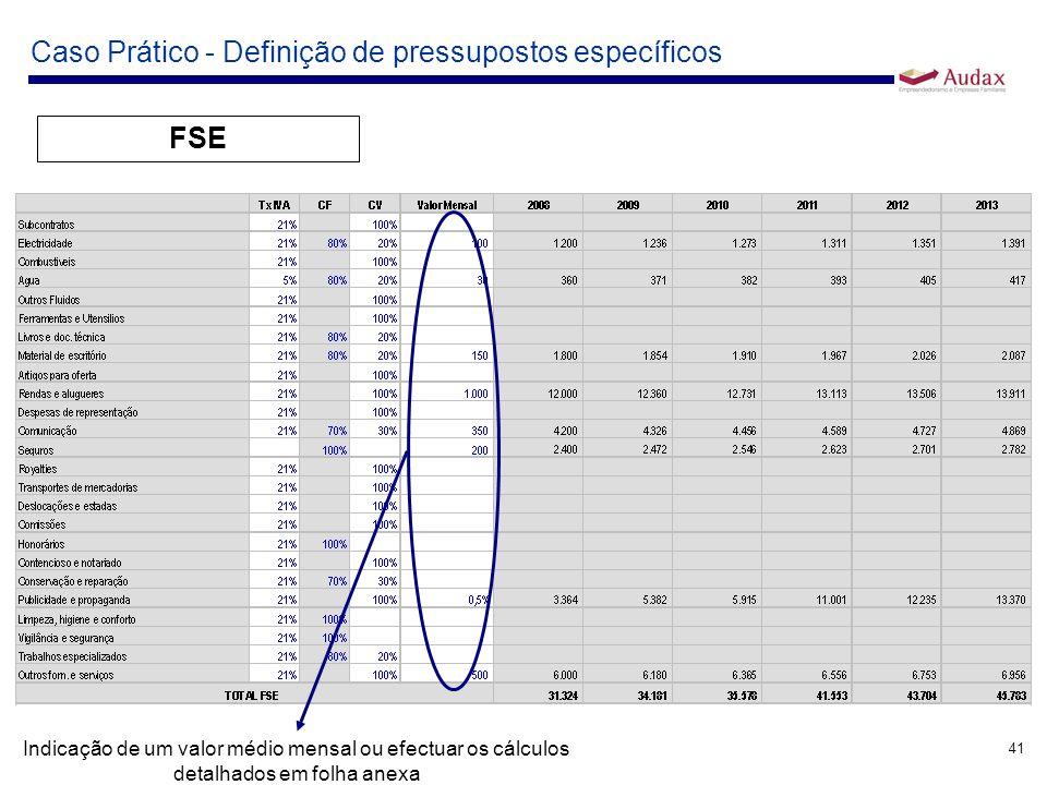 41 Caso Prático - Definição de pressupostos específicos FSE Indicação de um valor médio mensal ou efectuar os cálculos detalhados em folha anexa