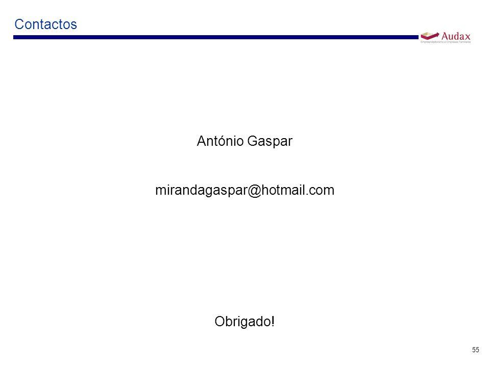 55 Contactos António Gaspar mirandagaspar@hotmail.com Obrigado!