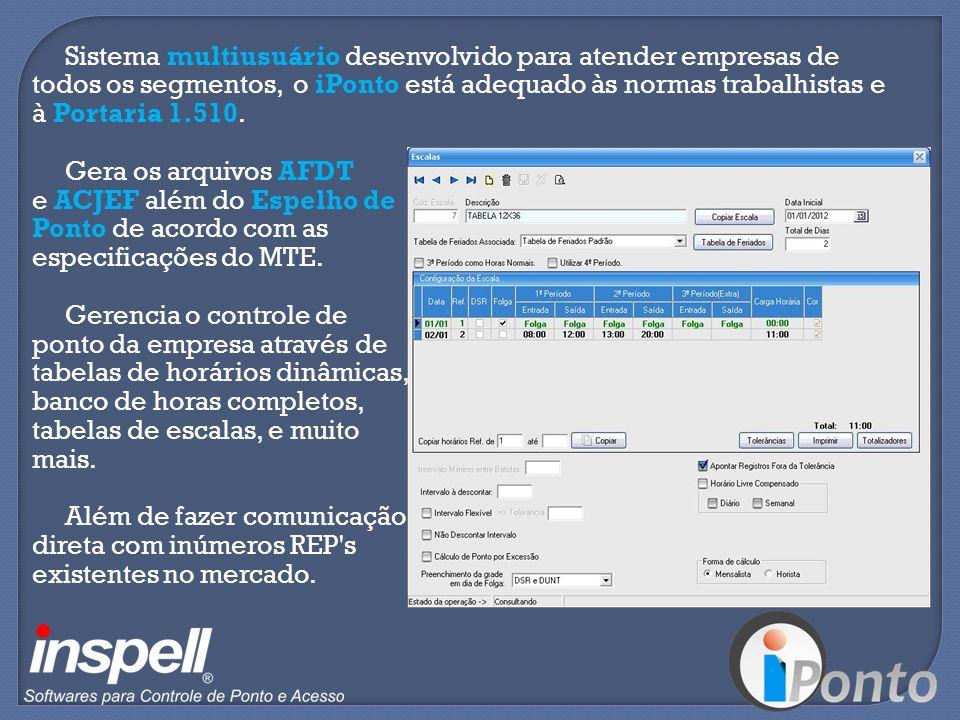 Sistema multiusuário desenvolvido para atender empresas de todos os segmentos, o iPonto está adequado às normas trabalhistas e à Portaria 1.510. Gera