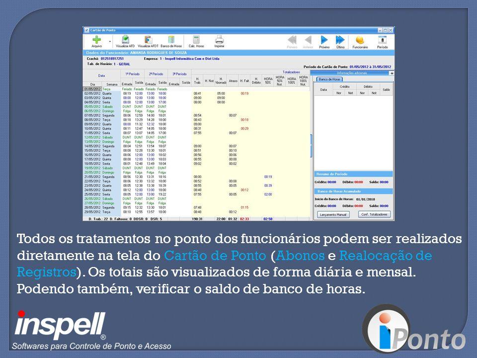 Todos os tratamentos no ponto dos funcionários podem ser realizados diretamente na tela do Cartão de Ponto (Abonos e Realocação de Registros). Os tota