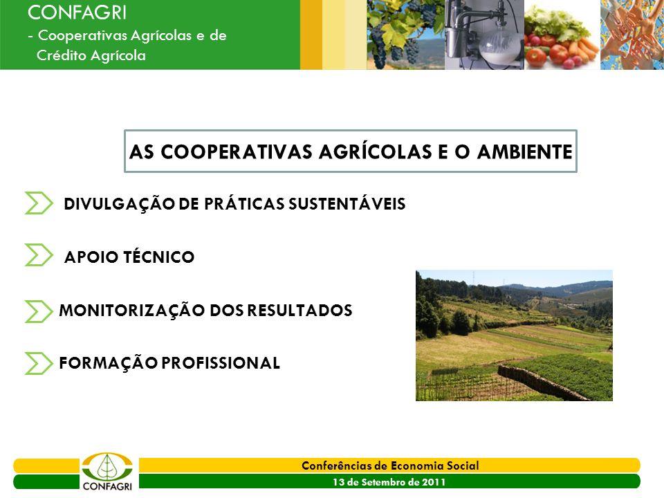 PRODER 2007 - 2013 Conferências de Economia Social 13 de Setembro de 2011 Ouvir o Sector CONFAGRI - Cooperativas Agrícolas e de Crédito Agrícola AS CO