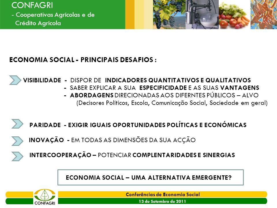 PRODER 2007 - 2013 Conferências de Economia Social 13 de Setembro de 2011 Ouvir o Sector CONFAGRI - Cooperativas Agrícolas e de Crédito Agrícola ECONO