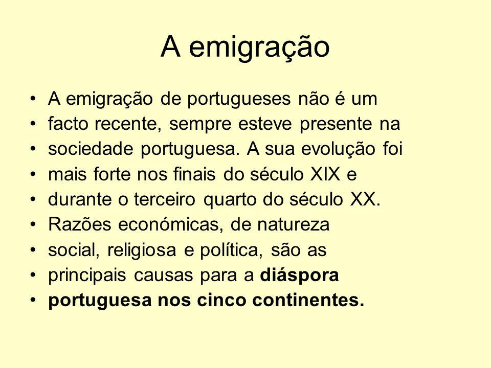 A emigração A emigração de portugueses não é um facto recente, sempre esteve presente na sociedade portuguesa. A sua evolução foi mais forte nos finai