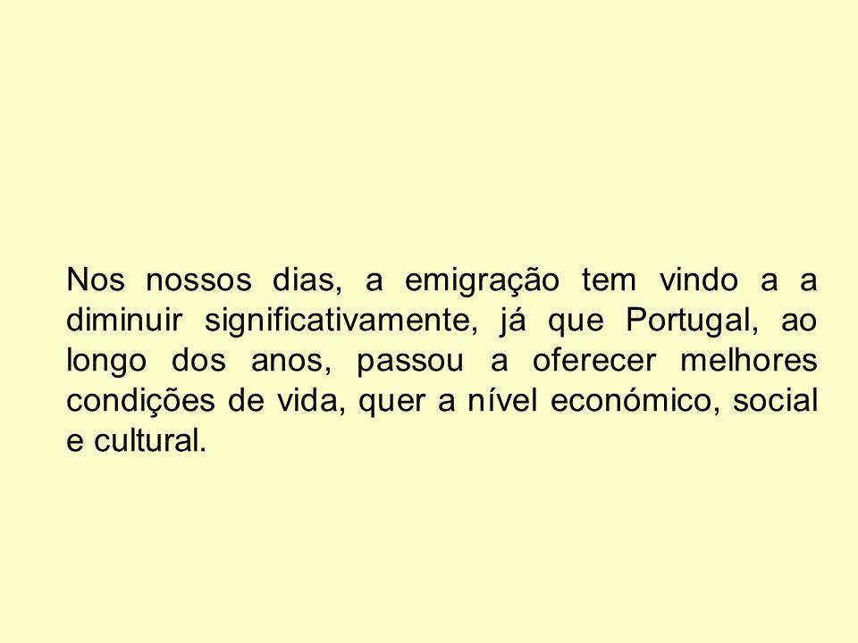 Nos nossos dias, a emigração tem vindo a a diminuir significativamente, já que Portugal, ao longo dos anos, passou a oferecer melhores condições de vi