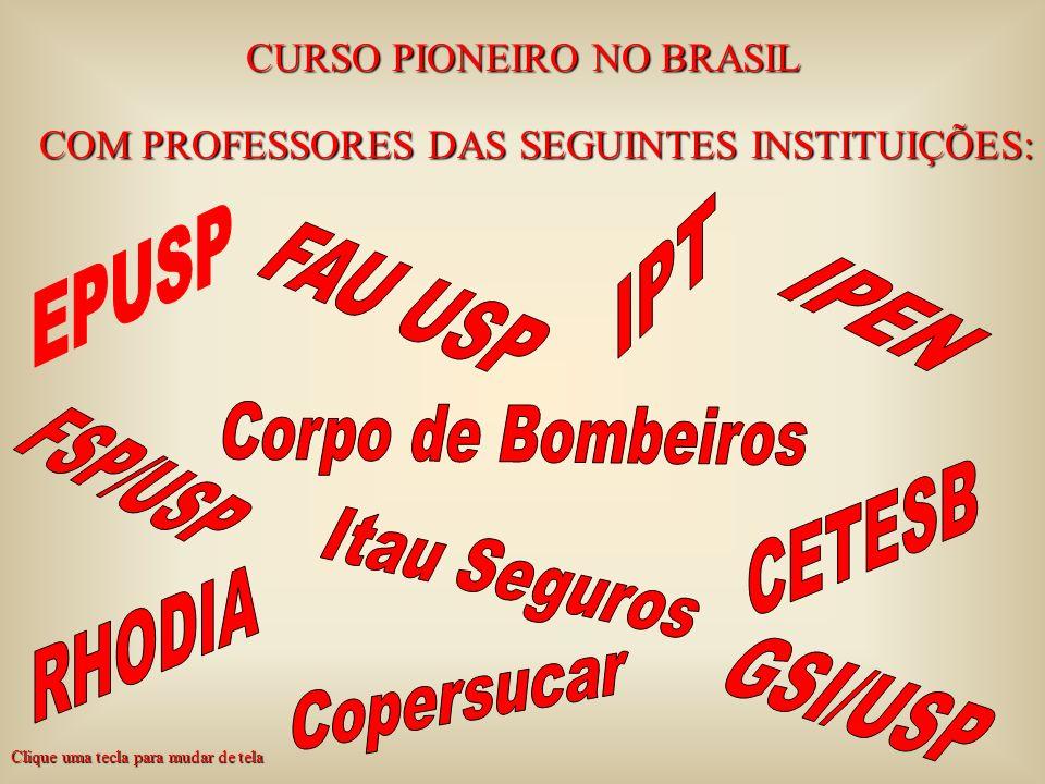 CURSO PIONEIRO NO BRASIL COM PROFESSORES DAS SEGUINTES INSTITUIÇÕES: Clique uma tecla para mudar de tela
