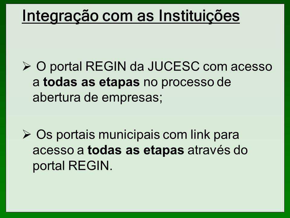 Integração com as Instituições O portal REGIN da JUCESC com acesso a todas as etapas no processo de abertura de empresas; Os portais municipais com li