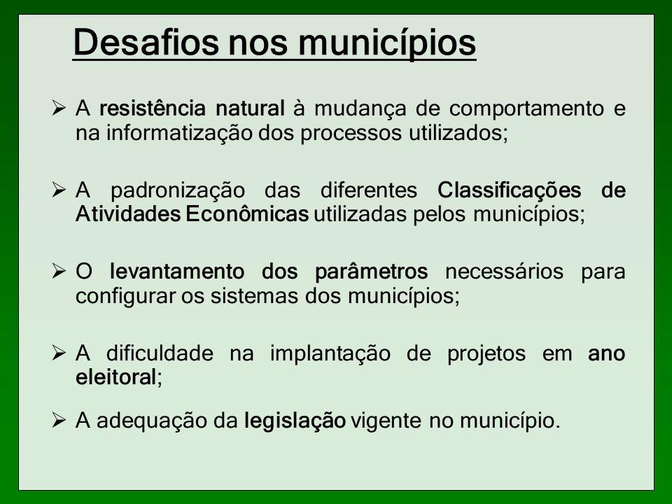 Desafios nos municípios A resistência natural à mudança de comportamento e na informatização dos processos utilizados; A padronização das diferentes C