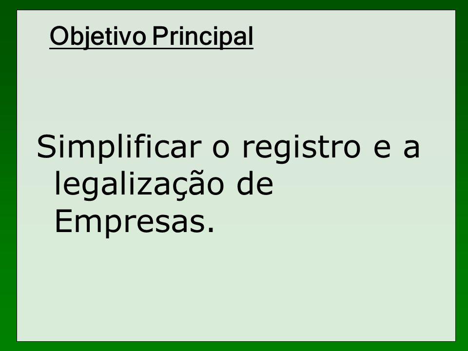 Objetivo Principal Simplificar o registro e a legalização de Empresas.