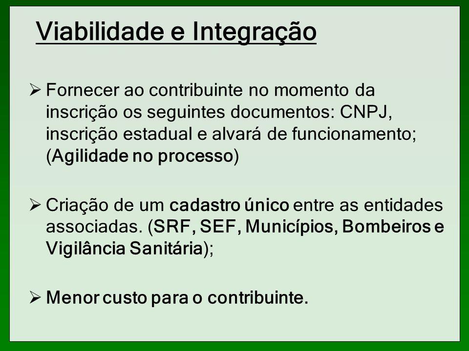 Viabilidade e Integração Fornecer ao contribuinte no momento da inscrição os seguintes documentos: CNPJ, inscrição estadual e alvará de funcionamento;