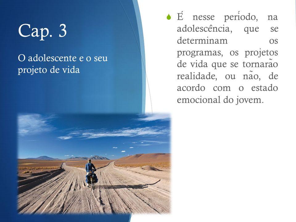 Cap. 3 E nesse periodo, na adolesce ̂ ncia, que se determinam os programas, os projetos de vida que se tornara ̃ o realidade, ou na ̃ o, de acordo com