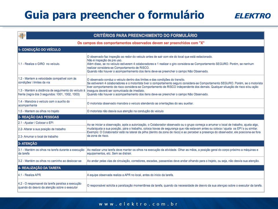 www.elektro.com.br Guia para preencher o formulário