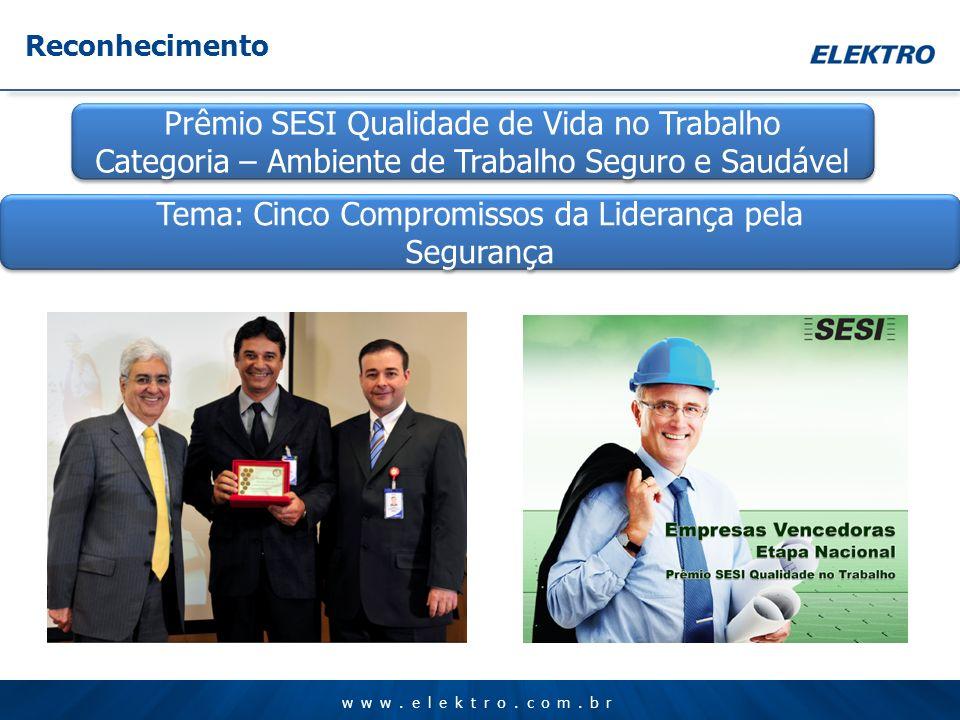www.elektro.com.br Prêmio SESI Qualidade de Vida no Trabalho Categoria – Ambiente de Trabalho Seguro e Saudável Prêmio SESI Qualidade de Vida no Traba