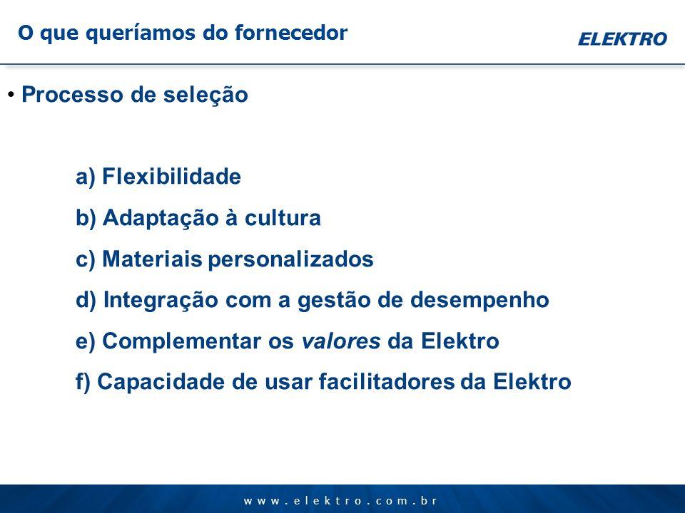 www.elektro.com.br O que queríamos do fornecedor Processo de seleção a) Flexibilidade b) Adaptação à cultura c) Materiais personalizados d) Integração