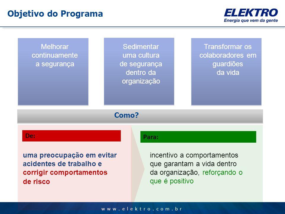 www.elektro.com.br Melhorar continuamente a segurança Sedimentar uma cultura de segurança dentro da organização Transformar os colaboradores em guardi