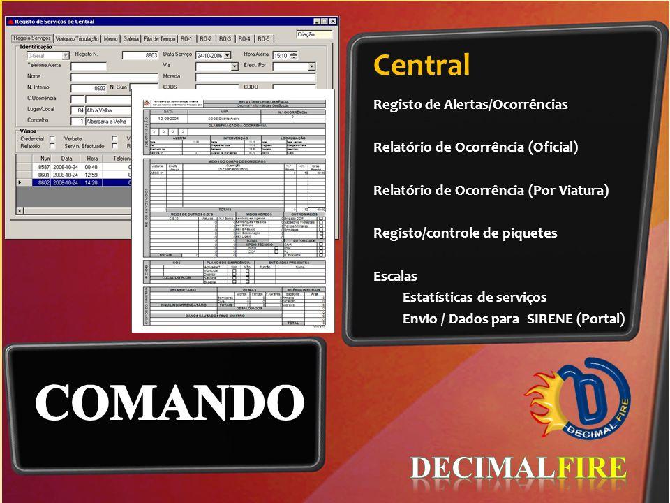 Central Registo de Alertas/Ocorrências Relatório de Ocorrência (Oficial) Relatório de Ocorrência (Por Viatura) Registo/controle de piquetes Escalas Es