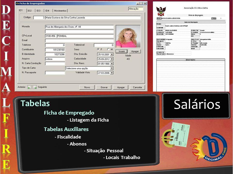 Salários Tabelas Ficha de Empregado - Listagem da Ficha Tabelas Auxiliares - Fiscalidade - Abonos - Situação Pessoal - Locais Trabalho