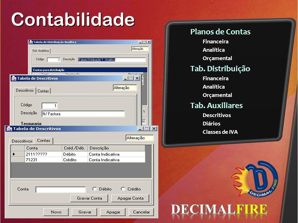 Contabilidade Planos de Contas Financeira Analítica Orçamental Tab. Distribuição Financeira Analítica Orçamental Tab. Auxiliares Descritivos Diários C