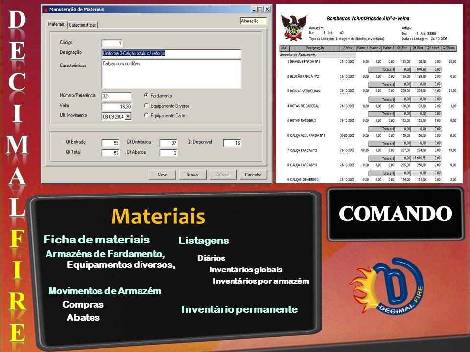 Materiais Ficha de materiais Armazéns de Fardamento, Equipamentos diversos, Movimentos de Armazém Compras Abates Listagens Diários Inventários globais