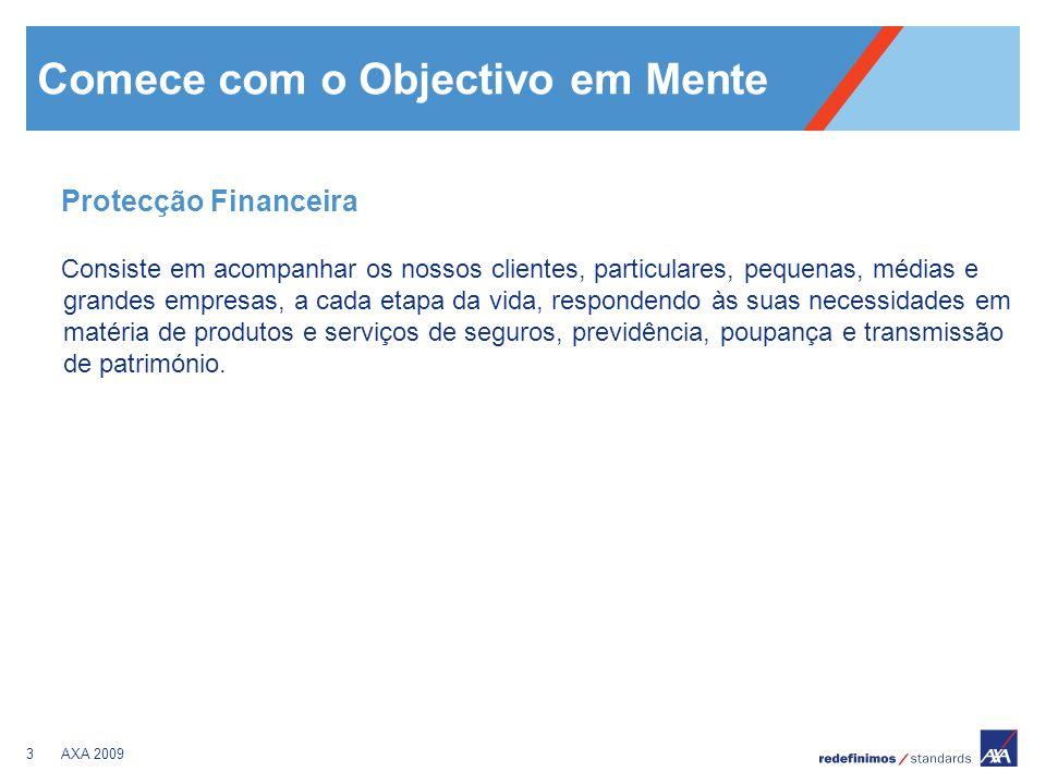 3AXA 2009 Comece com o Objectivo em Mente Protecção Financeira Consiste em acompanhar os nossos clientes, particulares, pequenas, médias e grandes emp