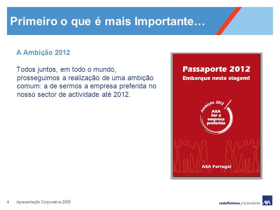 4Apresentação Corporativa 2009 Primeiro o que é mais Importante… A Ambição 2012 Todos juntos, em todo o mundo, prosseguimos a realização de uma ambiçã