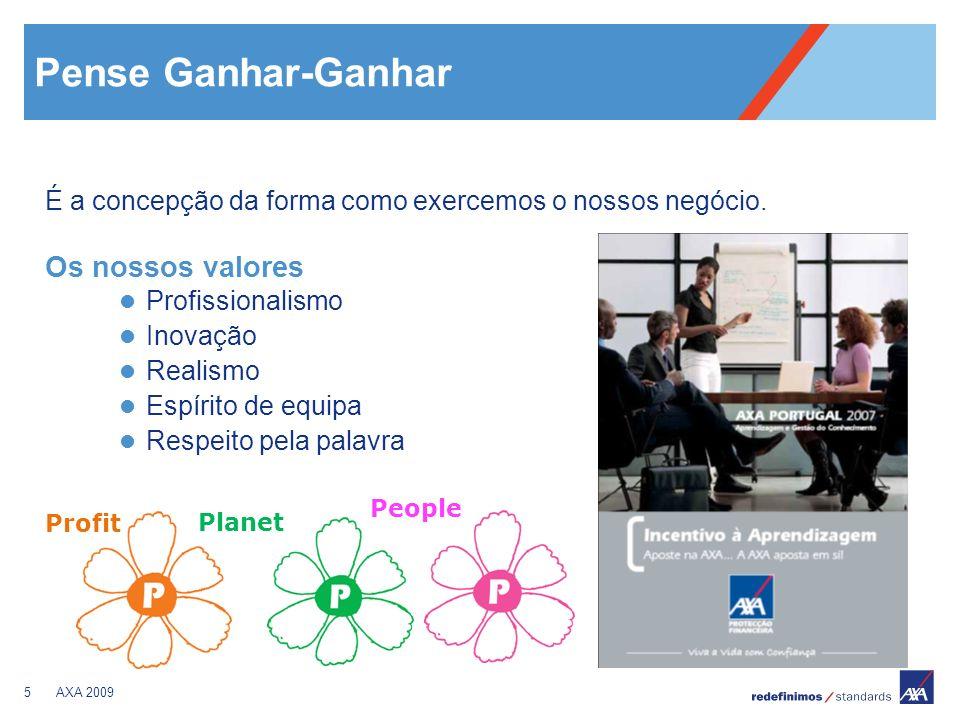 5AXA 2009 Pense Ganhar-Ganhar É a concepção da forma como exercemos o nossos negócio. Os nossos valores Profissionalismo Inovação Realismo Espírito de
