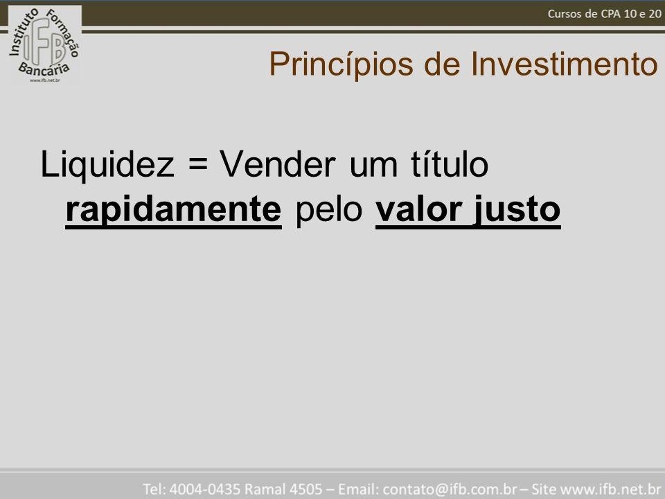 Princípios de Investimento Liquidez = Vender um título rapidamente pelo valor justo
