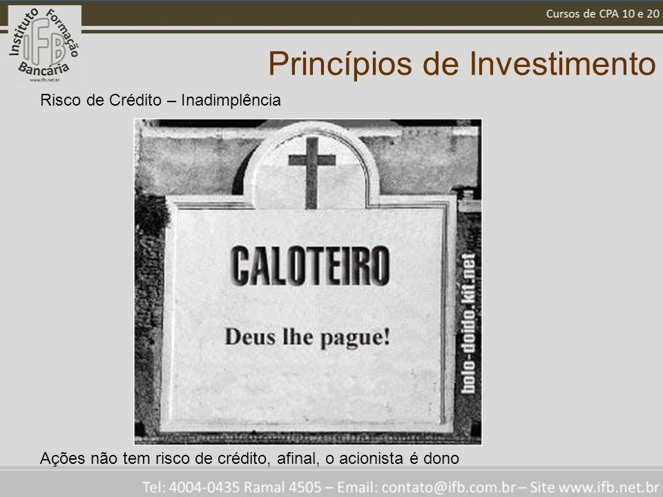 Princípios de Investimento Risco de Crédito – Inadimplência Ações não tem risco de crédito, afinal, o acionista é dono