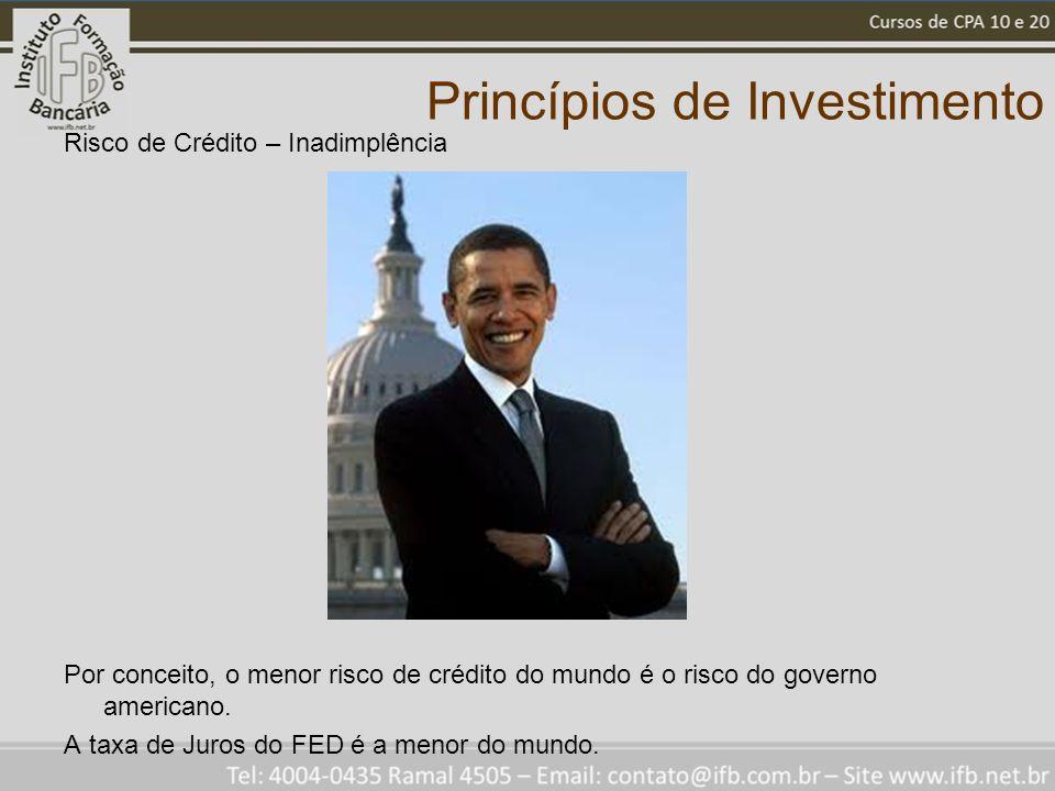 Princípios de Investimento Risco de Crédito – Inadimplência Por conceito, o menor risco de crédito do mundo é o risco do governo americano. A taxa de