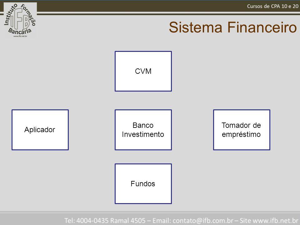 Sistema Financeiro Banco Investimento Tomador de empréstimo Aplicador CVM Fundos