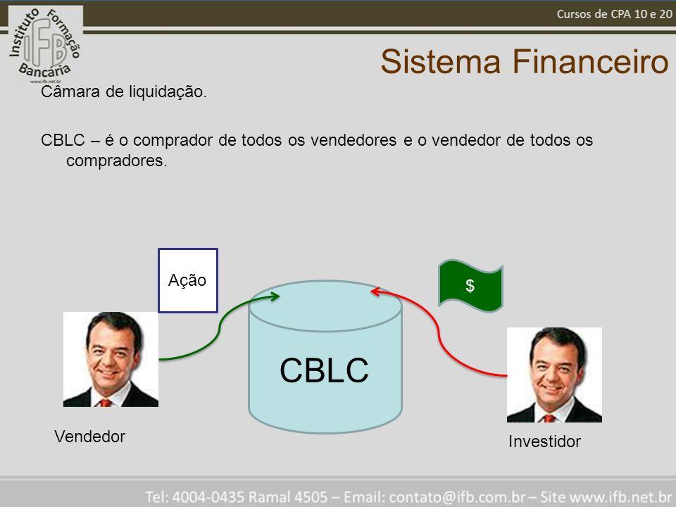 Sistema Financeiro Câmara de liquidação. CBLC – é o comprador de todos os vendedores e o vendedor de todos os compradores. CBLC $ Investidor Vendedor