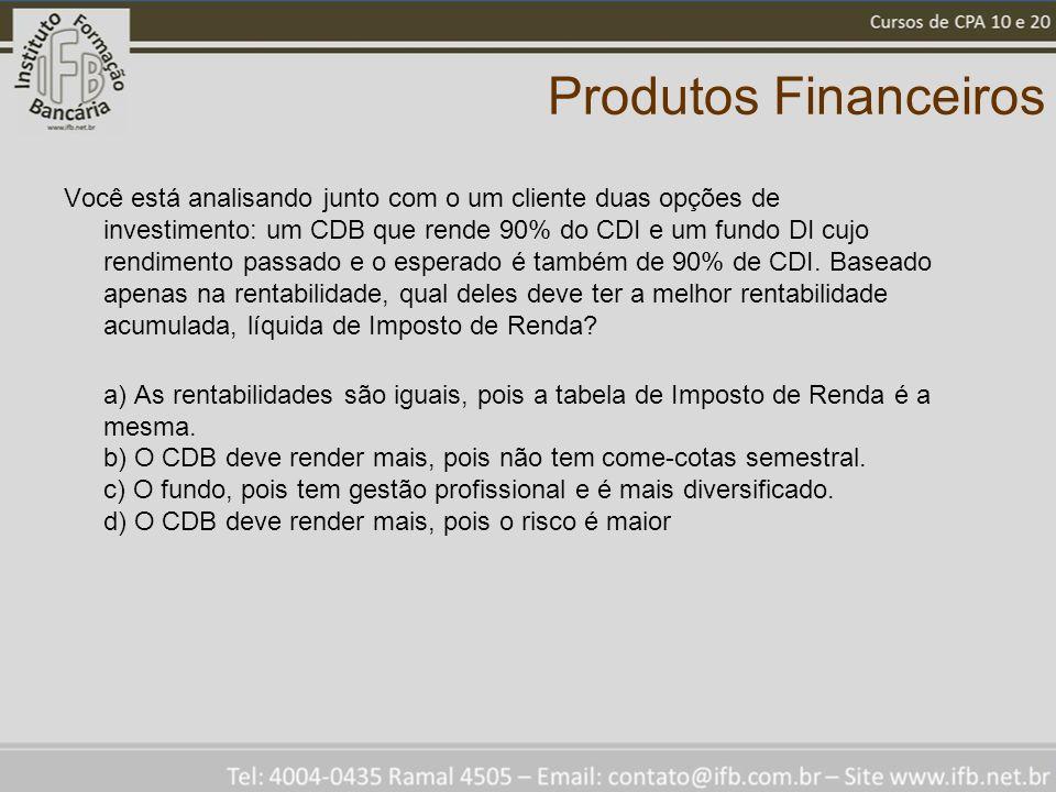 Produtos Financeiros Você está analisando junto com o um cliente duas opções de investimento: um CDB que rende 90% do CDI e um fundo DI cujo rendimento passado e o esperado é também de 90% de CDI.