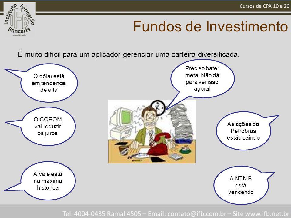 Fundos de Investimento É muito difícil para um aplicador gerenciar uma carteira diversificada. As ações da Petrobrás estão caindo A NTN B está vencend