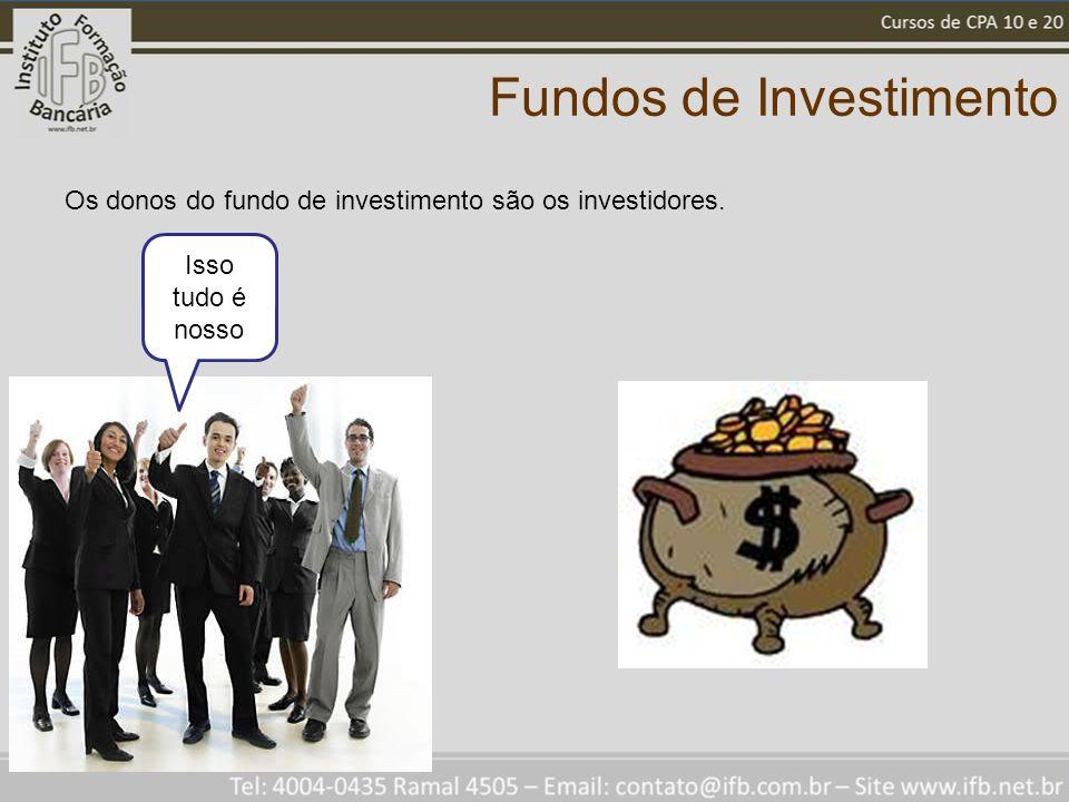 Fundos de Investimento Os donos do fundo de investimento são os investidores. Isso tudo é nosso
