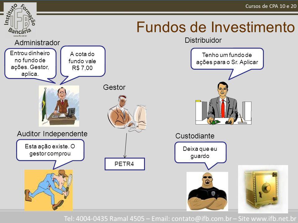 Fundos de Investimento PETR4 Gestor Entrou dinheiro no fundo de ações. Gestor, aplica. Administrador Tenho um fundo de ações para o Sr. Aplicar Distri
