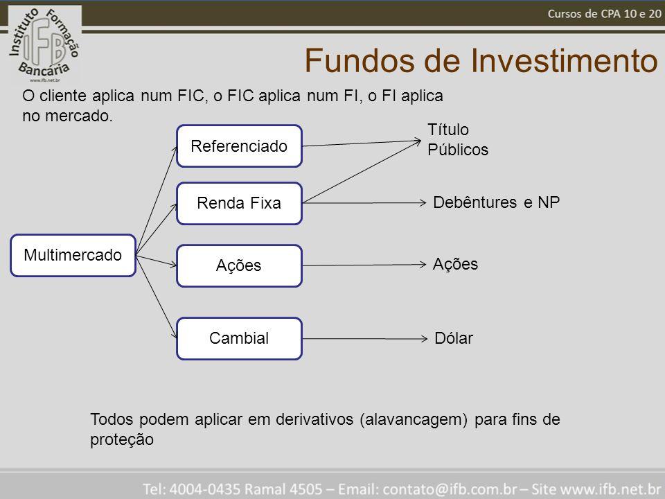 Fundos de Investimento Referenciado Título Públicos Debêntures e NP Ações Dólar O cliente aplica num FIC, o FIC aplica num FI, o FI aplica no mercado.