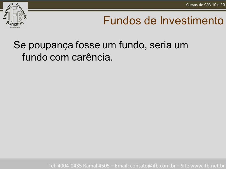 Fundos de Investimento Se poupança fosse um fundo, seria um fundo com carência.