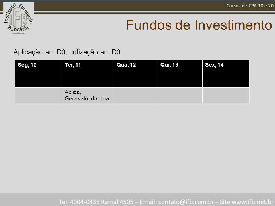 Fundos de Investimento Seg, 10Ter, 11Qua, 12Qui, 13Sex, 14 Aplica, Gera valor da cota Aplicação em D0, cotização em D0