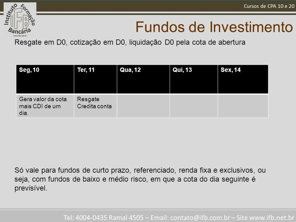 Fundos de Investimento Seg, 10Ter, 11Qua, 12Qui, 13Sex, 14 Gera valor da cota mais CDI de um dia. Resgate Credita conta Resgate em D0, cotização em D0
