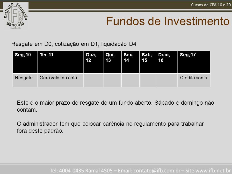 Fundos de Investimento Seg, 10Ter, 11Qua, 12 Qui, 13 Sex, 14 Sab, 15 Dom, 16 Seg, 17 ResgateGera valor da cotaCredita conta Resgate em D0, cotização em D1, liquidação D4 Este é o maior prazo de resgate de um fundo aberto.