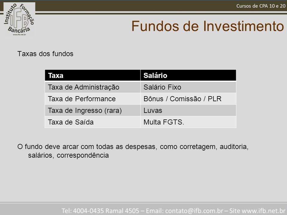 Fundos de Investimento Taxas dos fundos O fundo deve arcar com todas as despesas, como corretagem, auditoria, salários, correspondência TaxaSalário Taxa de AdministraçãoSalário Fixo Taxa de PerformanceBônus / Comissão / PLR Taxa de Ingresso (rara)Luvas Taxa de SaídaMulta FGTS.