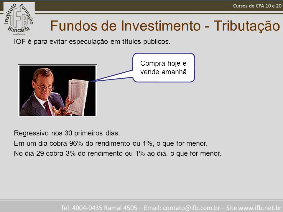 Fundos de Investimento - Tributação IOF é para evitar especulação em títulos públicos. Regressivo nos 30 primeiros dias. Em um dia cobra 96% do rendim