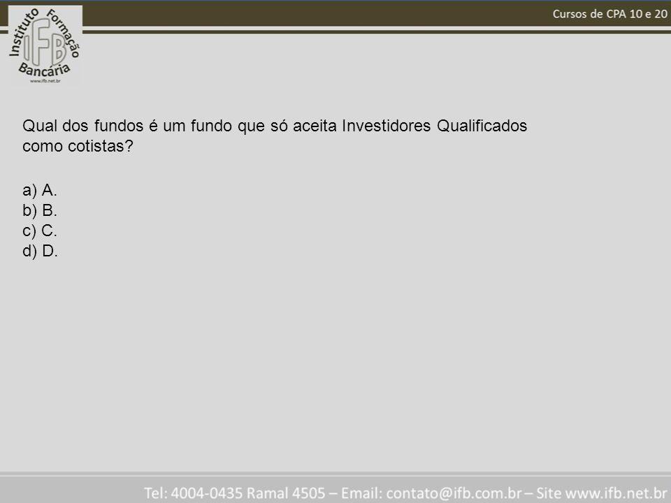 Qual dos fundos é um fundo que só aceita Investidores Qualificados como cotistas? a) A. b) B. c) C. d) D.