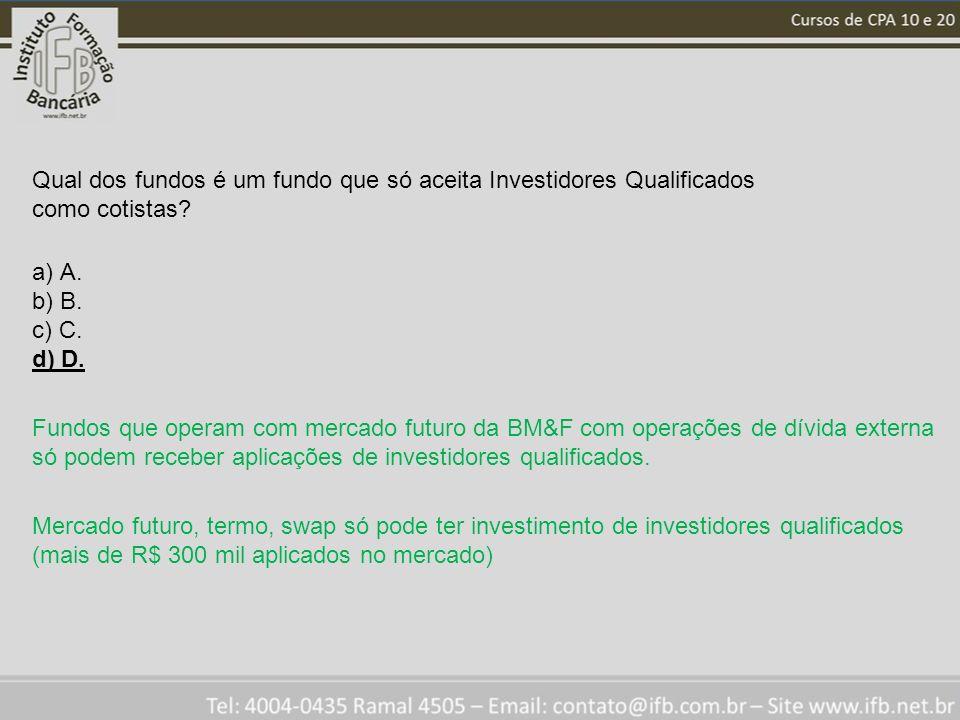 Qual dos fundos é um fundo que só aceita Investidores Qualificados como cotistas? a) A. b) B. c) C. d) D. Fundos que operam com mercado futuro da BM&F