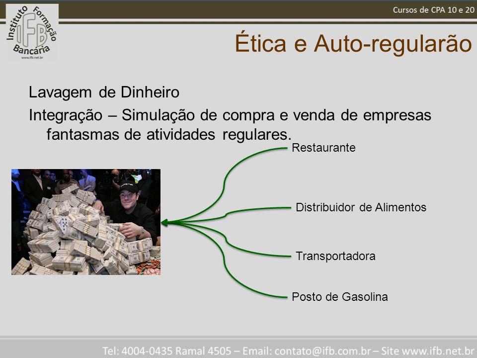 Ética e Auto-regularão Lavagem de Dinheiro Integração – Simulação de compra e venda de empresas fantasmas de atividades regulares.